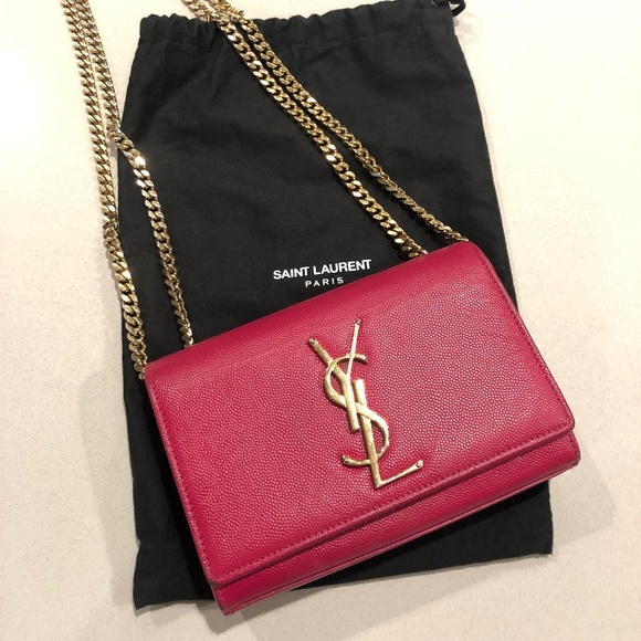 b74bcfe9d3c YSL Kate Small in Grained Leather in Fuchsia Pink.  M_5c09b7ced6dc52fbd6bc8d58